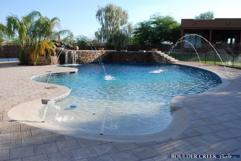 Zero Beach Entry Pool With Rock Waterfall By Blue Haven Pools For The Home Pinterest And